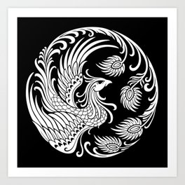 Traditional White and Black Chinese Phoenix Circle Art Print
