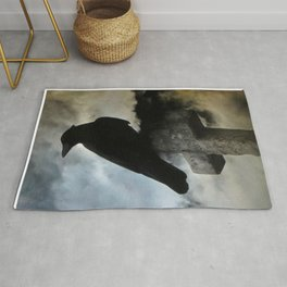 Stormy Clouds And Crow Rug