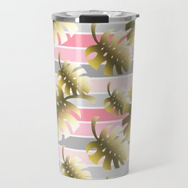 Tropical gold cheese leaves pastel color stripes Travel Mug
