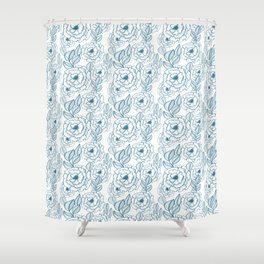 Navy Blue and White Floral Wallpaper  Shower Curtain