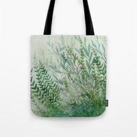 Tote Bags featuring Ferns and Fog by Leslie Evans