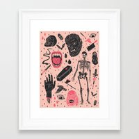 hand Framed Art Prints featuring Whole Lotta Horror by Josh Ln
