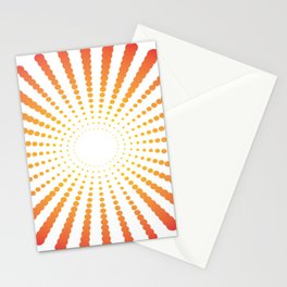 ORANGE DOTS SWIRL ON A WHITE BACKGROUND Abstract Art Stationery Cards