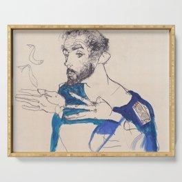 """Egon Schiele """"Gustav Klimt im blauen Malerkittel"""" Serving Tray"""