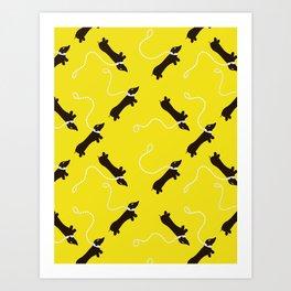 Dogs infinity - Fabric pattern Art Print