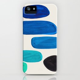 Mid Century Modern Retro Minimalist Colorful Shapes Phthalo Blue Marine Green Gradient Pebbles iPhone Case