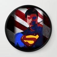 superman Wall Clocks featuring Superman by Scar Design