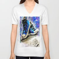 converse V-neck T-shirts featuring Converse Blues by Frankie Luna III