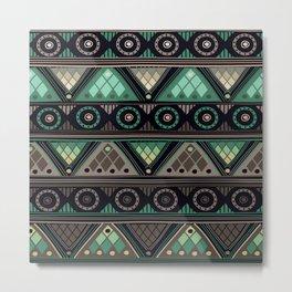 Green Ethno Pattern Metal Print