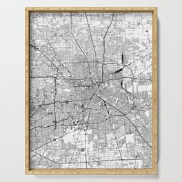 Houston White Map Serving Tray
