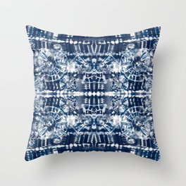 Blue Tie-Dye Spiral Stripe Throw Pillow