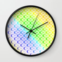 Braided light pattern of rainbow squares and sparkling rhombuses with diagonal volumetric triangles. Wall Clock