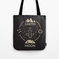 aviation Tote Bags featuring Aviation: Earth to Moon by Gemaniq