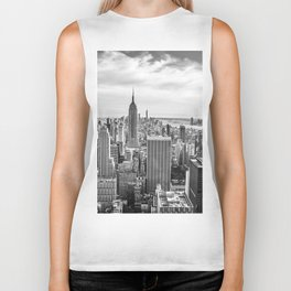 New York City Cityscape (Black and White) Biker Tank