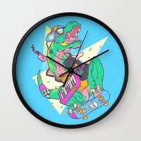 trex Wall Clocks featuring Ju-RAD-ssic Park by Fightstacy