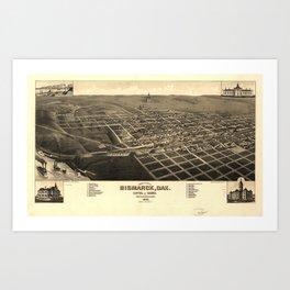 Vintage Bismark North Dakota Map (1883) Art Print