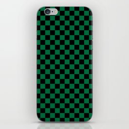 Black and Cadmium Green Checkerboard iPhone Skin