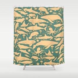 Minimalist, yellow and blue pattern of sea animals Shower Curtain