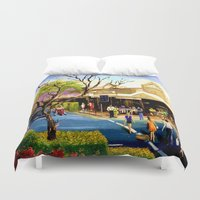 cafe Duvet Covers featuring Sidewalk Cafe by Helen Syron