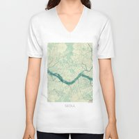 seoul V-neck T-shirts featuring Seoul Map Blue Vintage by City Art Posters