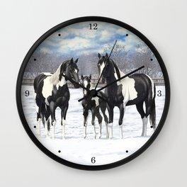 Black Pinto Horse Family Paint Horses In Snow Wall Clock