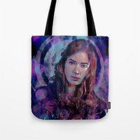 amy pond Tote Bags featuring Amy Pond by Sirenphotos