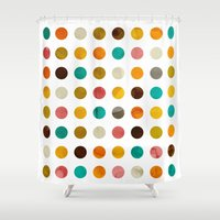 polka dot Shower Curtains featuring Autumnal polka dot by cafelab