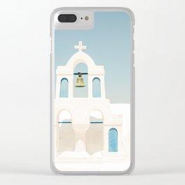 White Church and Church Bells on Santorini Island Greece Oia Clear iPhone Case