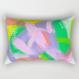 Be You, Be OK Baby Pink Lime Green Lilac White Colorful Abstract Painting Rectangular Pillow