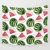 vegetarian Wall Tapestries featuring Watermelon pattern. by Julia Badeeva