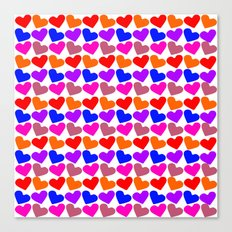 Colorful Hearts Pattern Canvas Print