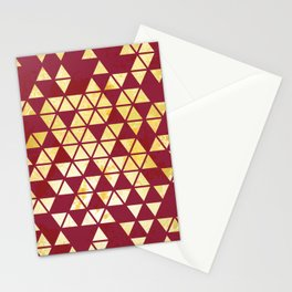 Maroon & Gold Triangle Pattern Stationery Cards
