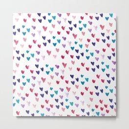 Small Watercolor Hearts Metal Print