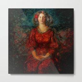 Romance, A Portrait of a Woman in a Red Dress by Thomas Edwin Mostyn Metal Print