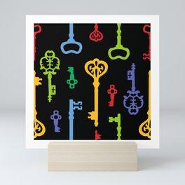 Rainbow Vintage Keys Pattern Mini Art Print