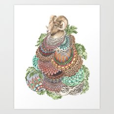 Quilted Forest: The Ram Art Print