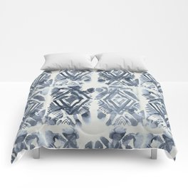 Simply Ikat Ink in Indigo Blue on Lunar Gray Comforters