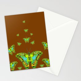 GREEN-YELLOW MOTHS ON COFFEE BROWN Stationery Cards
