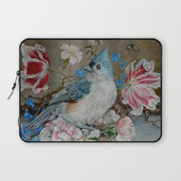 Blue Titmouse and Bee with floral still life Laptop Sleeve