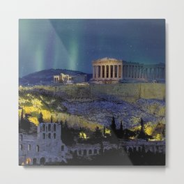 Northern lights over the ruins of the Acropolis; Athens, Greece Metal Print