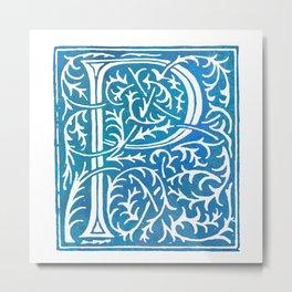 Letter P Antique Floral Letterpress Metal Print