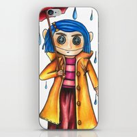 coraline iPhone & iPod Skins featuring Coraline Doll by Garrett Kenneth Roach