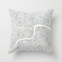 City Map London watercolor map Throw Pillow