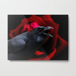 Surreal Crow against Red Rose A590 Metal Print