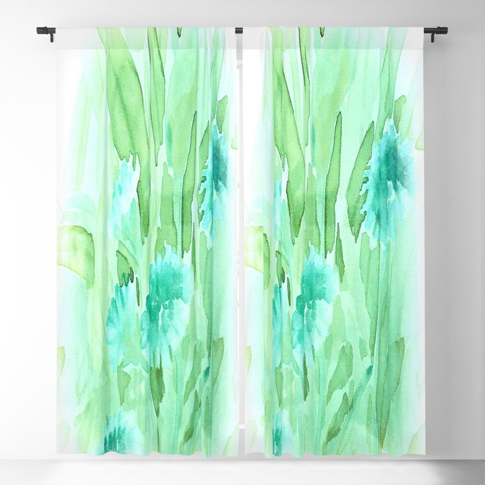 Soft Watercolor Floral Blackout Curtain