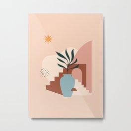 Shapes & Plant - Modern Abstract Art 03 Metal Print