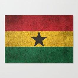 Old and Worn Distressed Vintage Flag of Ghana Canvas Print