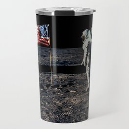 Buzz Aldrin and the U.S. Flag on the Moon Travel Mug
