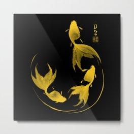Follow the Leader - Goldfish Sumi-e Gold Version Metal Print