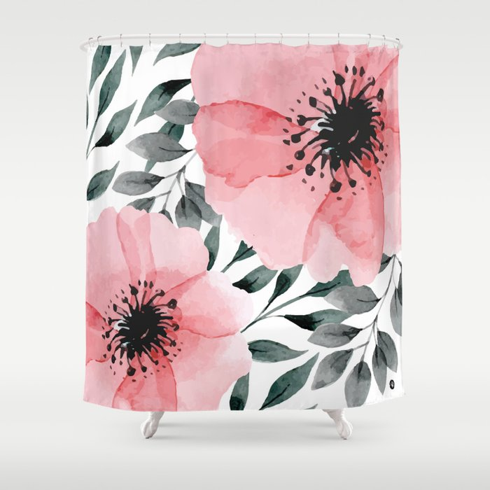 Big Watercolor Flowers Shower Curtain by mmartabc   Society6